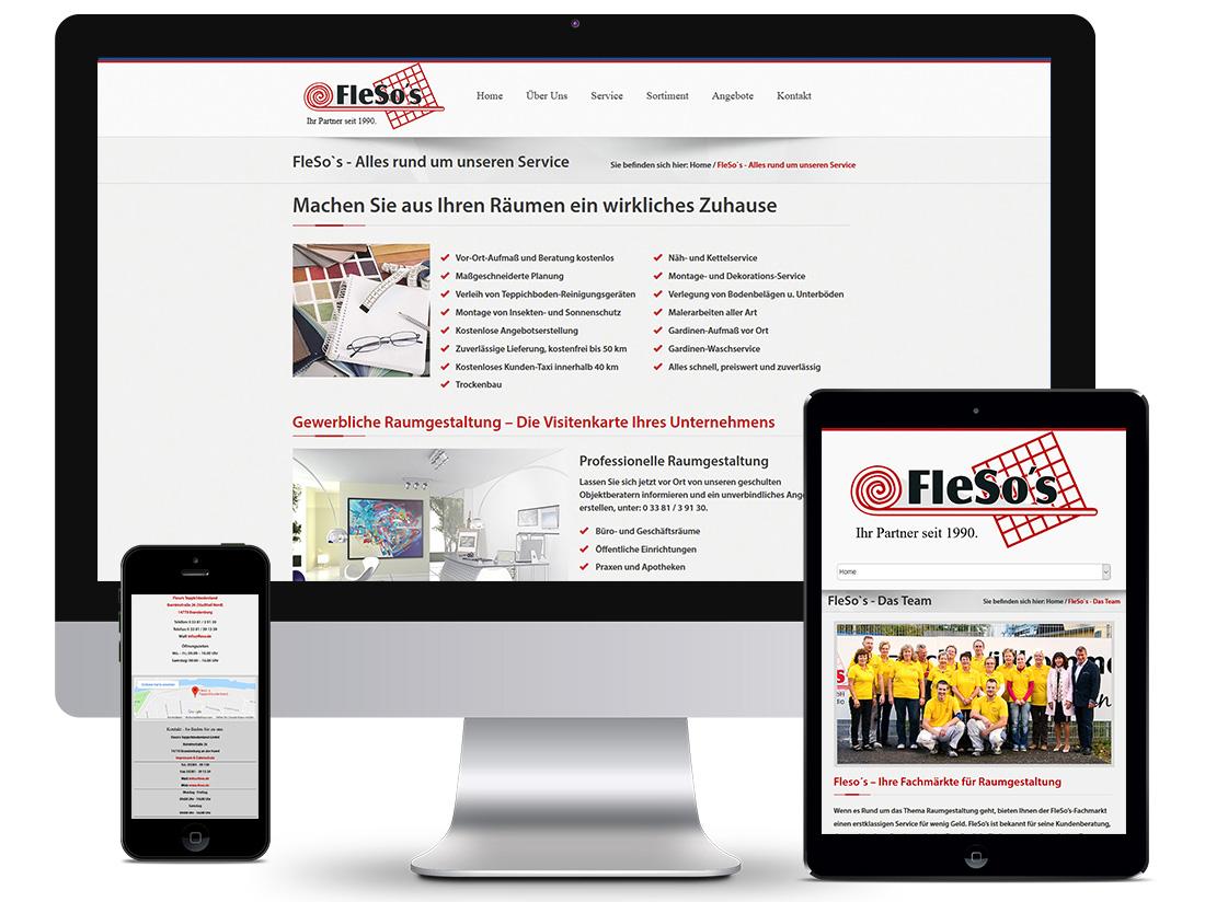 Responsive Webdesign - Fleso's Teppichbodenland GmbH