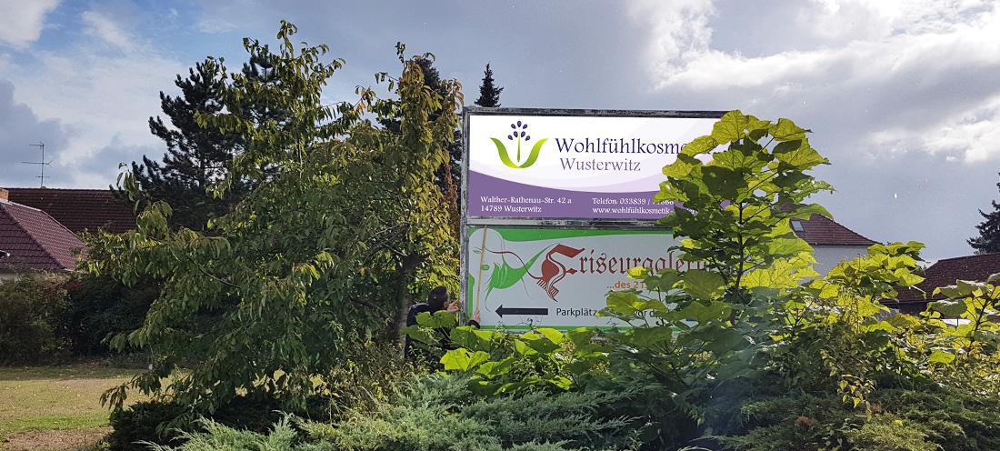 Wohlfühlkosmetik Wusterwitz Werbeschild